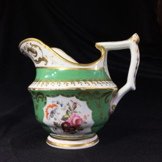 Minton milk jug, greem ground with flower panels & excellent gilding, c. 1830 -0