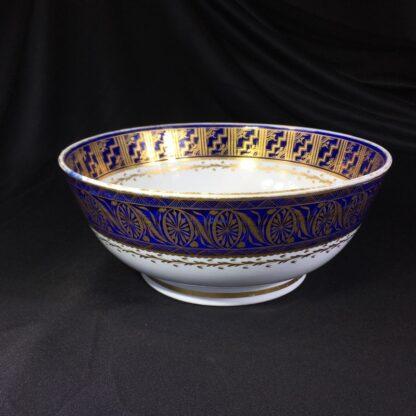 Large Miles Mason porcelain punch bowl, gilt borders on blue, c. 1805-26934