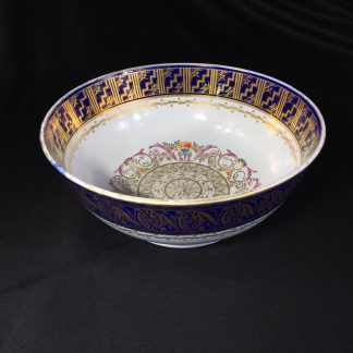 Large Miles Mason porcelain punch bowl, gilt borders on blue, c. 1805-0