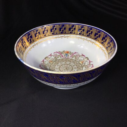 Large Miles Mason porcelain punch bowl, gilt borders on blue, c. 1805-0