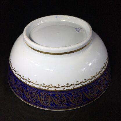 Large Miles Mason porcelain punch bowl, gilt borders on blue, c. 1805-26938