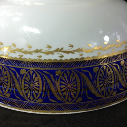 Large Miles Mason porcelain punch bowl, gilt borders on blue, c. 1805-26939