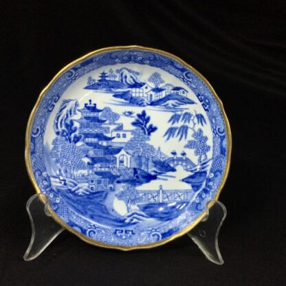 Miles Mason porcelain teabowl & saucer, printed 'pagoda' pattern, c. 1810 -26983