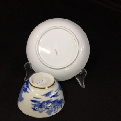 Miles Mason porcelain teabowl & saucer, printed 'pagoda' pattern, c. 1810 -26982