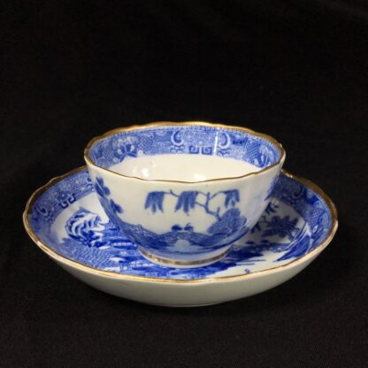Miles Mason porcelain teabowl & saucer, printed 'pagoda' pattern, c. 1810 -26984