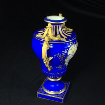 Minton porcelain vase, matt blue ground with flowers, c.1830-27183