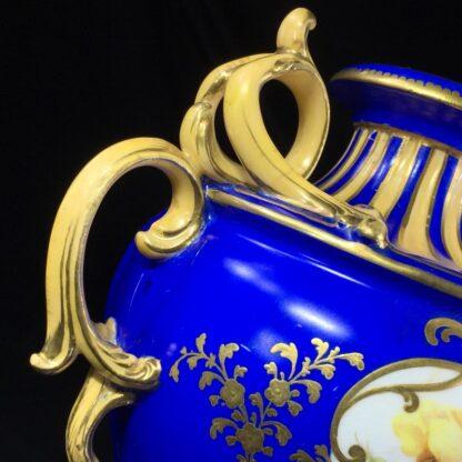 Minton porcelain vase, matt blue ground with flowers, c.1830-27187