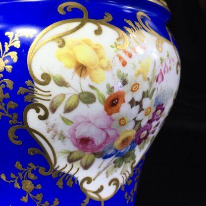 Minton porcelain vase, matt blue ground with flowers, c.1830-27186