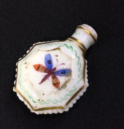 Unusual miniature English porcelain scent, moth decorated, c. 1835-0