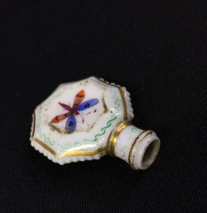 Unusual miniature English porcelain scent, moth decorated, c. 1835-27301