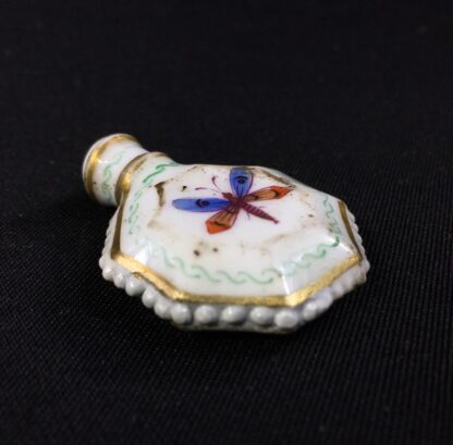Unusual miniature English porcelain scent, moth decorated, c. 1835-27304