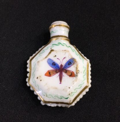 Unusual miniature English porcelain scent, moth decorated, c. 1835-27307
