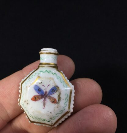 Unusual miniature English porcelain scent, moth decorated, c. 1835-27305