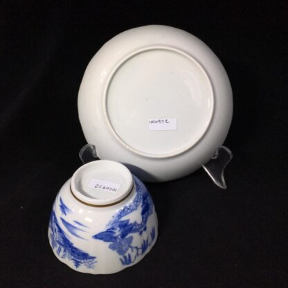 Miles Mason porcelain teabowl & saucer, printed 'pagoda' pattern, c. 1810 -27291