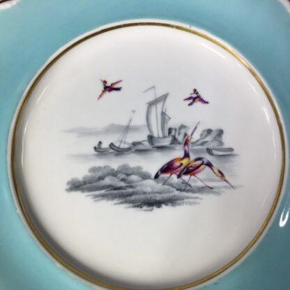 Chamberlains Worcester plate, fancy birds in monotone landscape, c. 1830 -27285