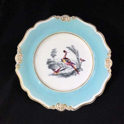 Chamberlains Worcester plate, Fancy Birds in monotone landscapes, c. 1830 -0