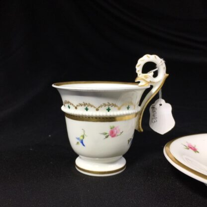 Nantgarw cup and saucer, serpent handle & flower sprigs, c. 1818-27265
