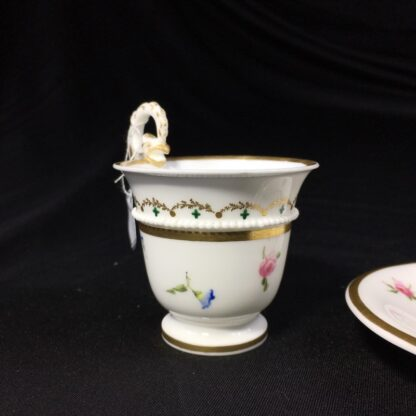 Nantgarw cup and saucer, serpent handle & flower sprigs, c. 1818-27267