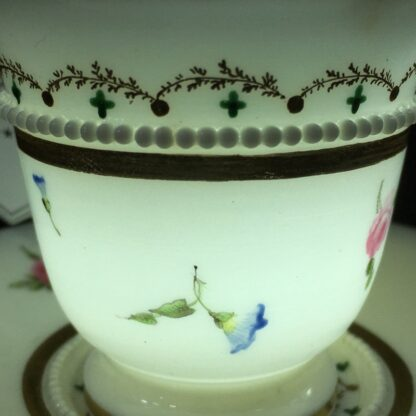 Nantgarw cup and saucer, serpent handle & flower sprigs, c. 1818-27277
