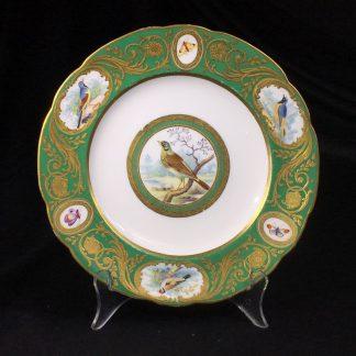 Minton plate, superb 'Sevres' decoration, birds after Bouffon, c. 1840 -0