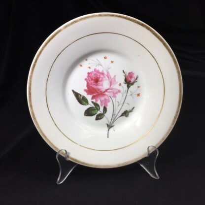 English porcelain plate with rose, c. 1825-0