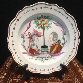 Creamware plate with Dutch portrait of William of Orange & Frederica, c. 1785-0
