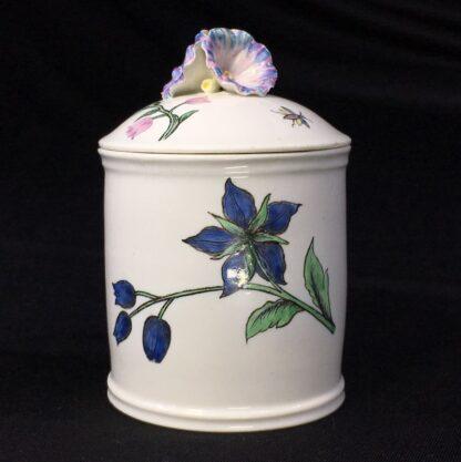 Chantilly pomade pot with rare Holzschnittblumen (Woodcut Flowers) after Meissen, c. 1755-0