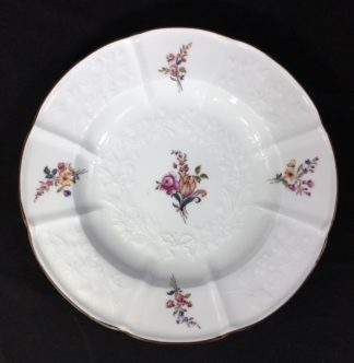 Meissen plate with flower moulding, deutchblumen flowers, 19th century -0