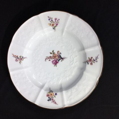 Meissen plate with flower moulding, deutchblumen flowers, 19th century -27609