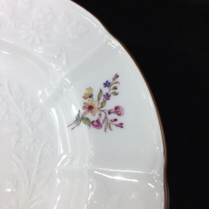Meissen plate with flower moulding, deutchblumen flowers, 19th century -27610