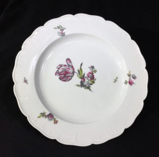 Berlin plate decorated with a pink and grey tulip, c.1880 -0