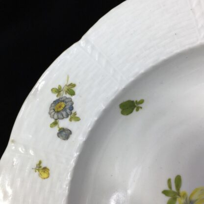 Vienna soup bowl, basketweave with flower dec, c. 1760 -27577