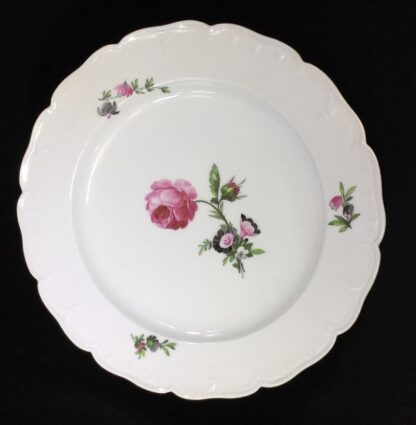 Berlin Plate decorated with a pink rose, c.1880-0