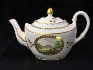 Pinxton teapot with named views, Brookhill Service type, pat. #221, c. 1798-0