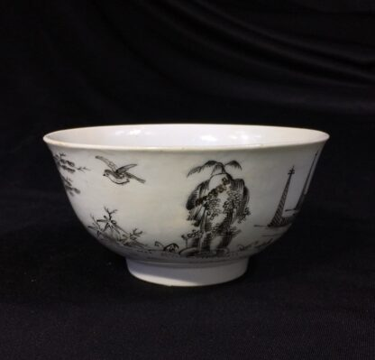 Worcester bowl with black pencilled 'boy & buffalo', c. 1760 -27471