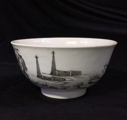 Worcester bowl with black pencilled 'boy & buffalo', c. 1760 -27470