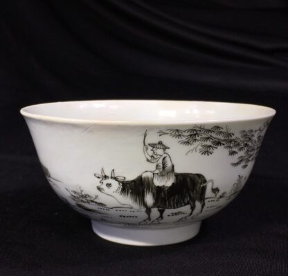 Worcester bowl with black pencilled 'boy & buffalo', c. 1760 -0