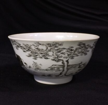 Worcester bowl with black pencilled 'boy & buffalo', c. 1760 -27468
