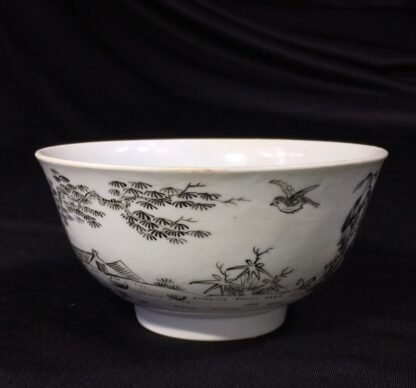Worcester bowl with black pencilled 'boy & buffalo', c. 1760 -27474