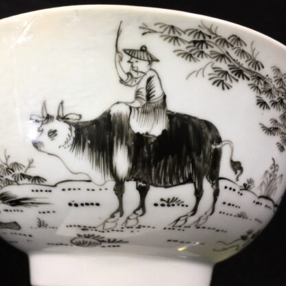 Worcester bowl with black pencilled 'boy & buffalo', c. 1760 -27477