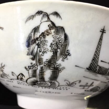 Worcester bowl with black pencilled 'boy & buffalo', c. 1760 -27479