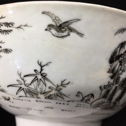 Worcester bowl with black pencilled 'boy & buffalo', c. 1760 -27478