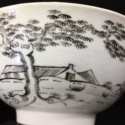 Worcester bowl with black pencilled 'boy & buffalo', c. 1760 -27481