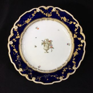 Gold Anchor Chelsea plate with urn, mazarine blue & rich gilding, c. 1765-0