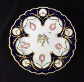 Gold Anchor Chelsea plate with profiles, mazarine blue & rich gilding, c. 1765-0