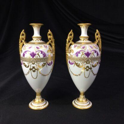 Pair Royal Crown vases, richly gilt, c. 1890 -0