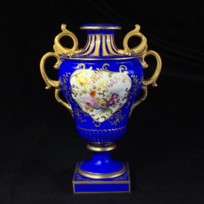 Minton porcelain vase, matt blue ground with flowers, c.1830-0