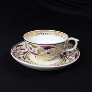 Derby cup & sacuer, pat. 52, scrolling purple & gilt foliage, c.1820-0