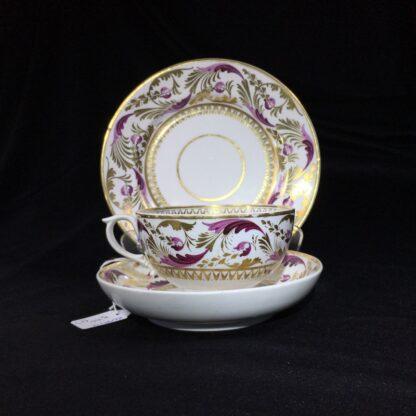 Derby cup & saucer & plate, pattern 52, circa 1820-0