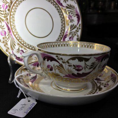 Derby cup & saucer & plate, pattern 52, circa 1820-27808